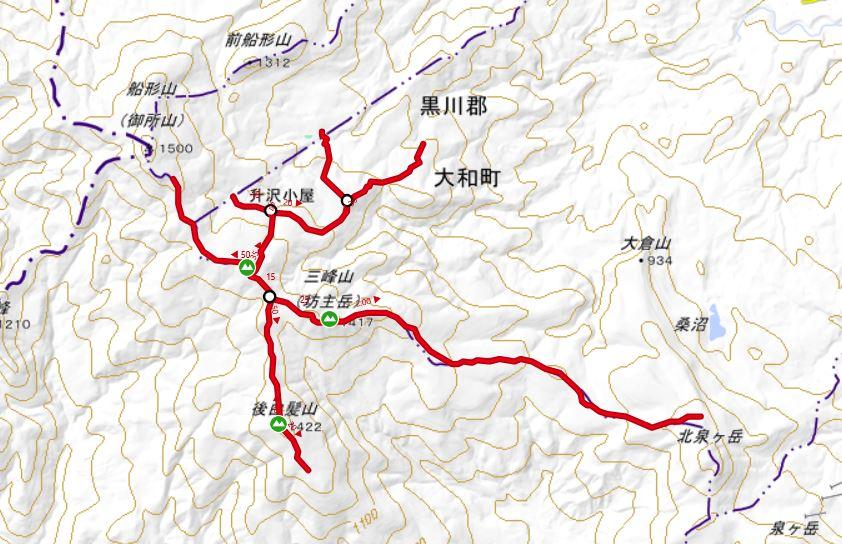 三峰山 登山コース